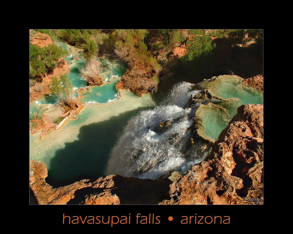"Havasu is well-known for its blue-green color and distinct travertine formations. This is due to large amounts of calcium carbonate (lime) in the water that formed the limestone that lines the creek and reflects its color so strongly.  This river is a spectacular oasis in ""arid"" Arizona.<br /> ORDER #83213"