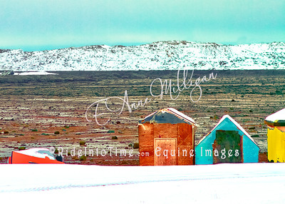 Fishing Shacks when the tide is out, Iqaluit, Nunavut, Canada