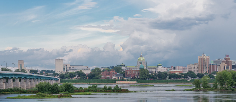 Harrisburg skyline, massive cloud formations