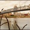 Vintage inspired Roebling Bridge photo, Cincinnati Ohio