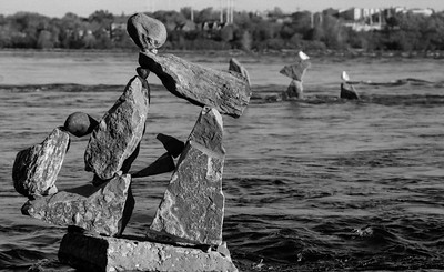 Remic Rapids Balanced Rock Sculpture Project, by John Felice Ceprano