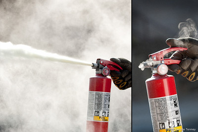 Chemical fire extinguisher in use