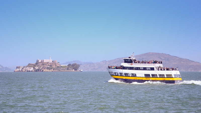 Touring the bay with Alcatraz in the distance
