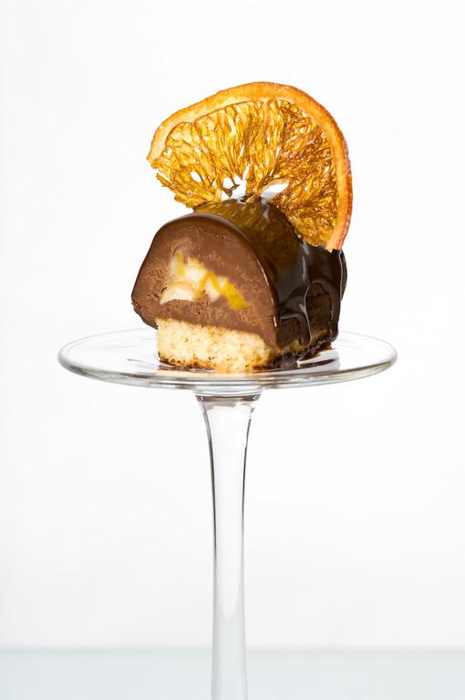 Dessert with cake and orange