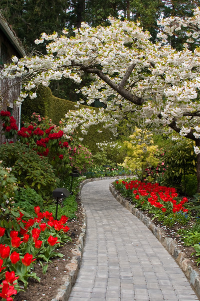 Garden Path at Butchart Gardens in Victoria, British Columbia, Canada.
