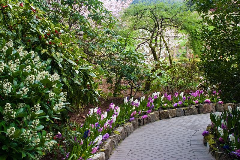 Garden Path at Butchart Gardens in Victoria, British Columbia, Canada.