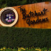 Welcome Sign at entrance to Butchart Gardens in Victoria, British Columbia, Canada.
