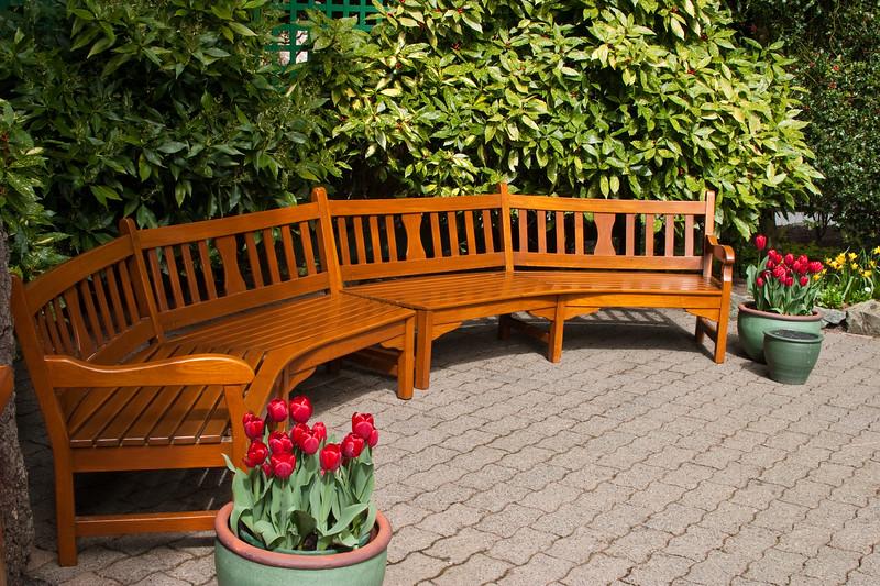 Bench at Butchart Gardens in Victoria, British Columbia, Canada.