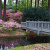 Bridge and reflections in the Azalea Overlook Garden at Callaway Gardens in Pine Mountain, Georgia. Callaway Gardens, which is especially famous for its azaleas, boasts 13,000 acres of gardens and Georgia countryside, plus a conservation nature preserve, extensive education programs, and a very impressive resort as well.