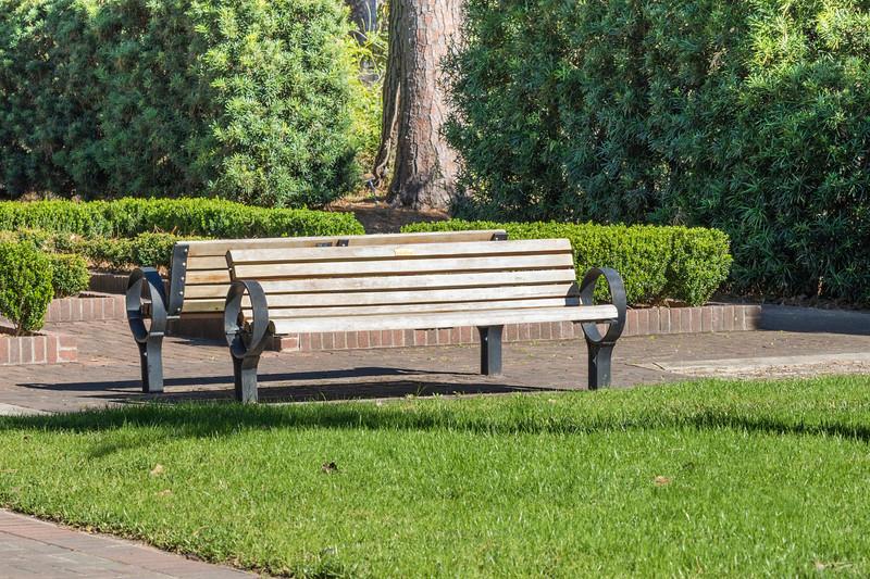 Garden benches at Mercer Arboretum and Botanical Gardens