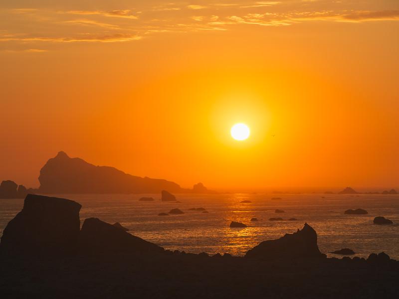 Orange Crush sunset Crescent City, California