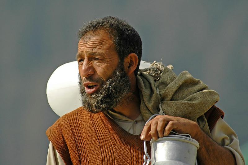 Milkmand in Kashmir, India.