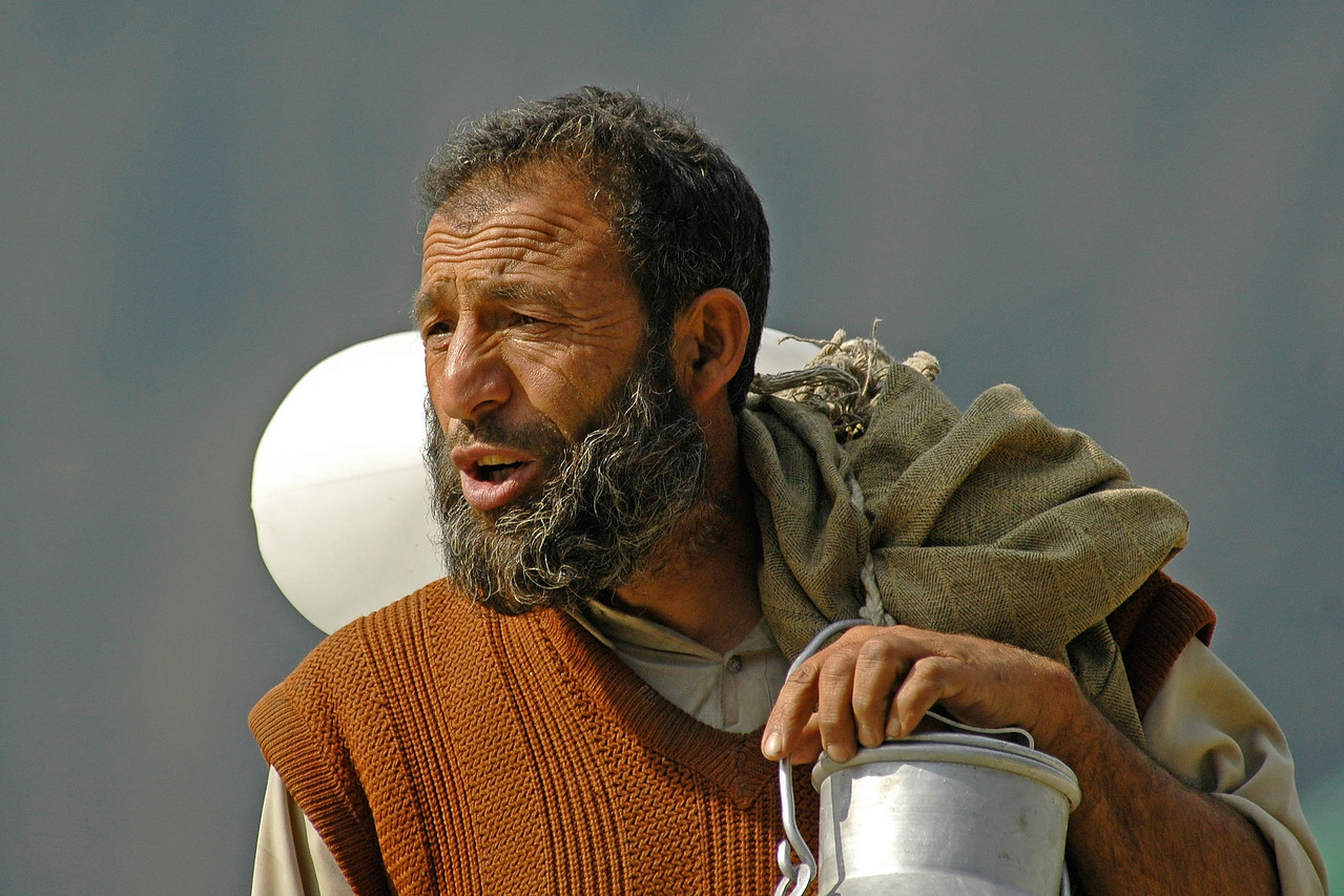 Milkmand in Kashmir, India.