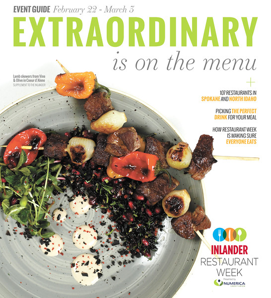Issue date: Thursday, February 22, 2018. Art Director: Derek Harrison. Photographer: Young Kwak. This is the cover for the Inlander Restaurant Week issue. The photo is of a Lamb Skewer from Vine & Olive, taken at the Inlander office in Spokane, WA, Thursday, Jan. 18, 2018.