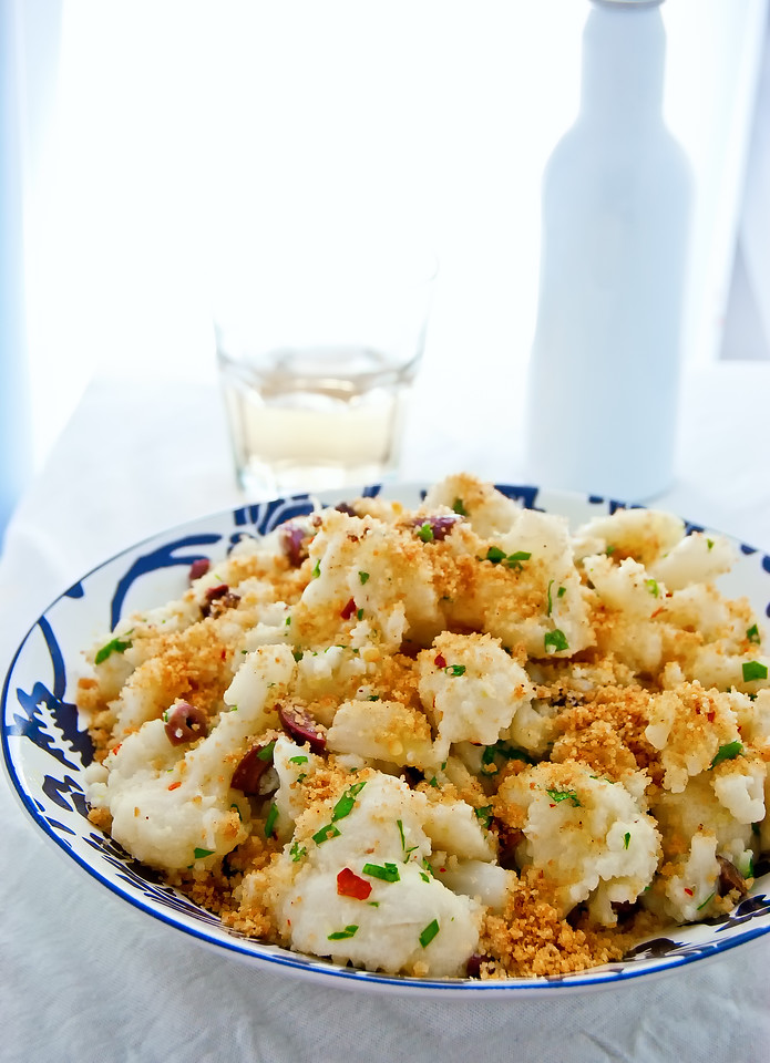 Sicilian Cauliflower salad with crunchy breadcrumbs seasoned with cinnamon