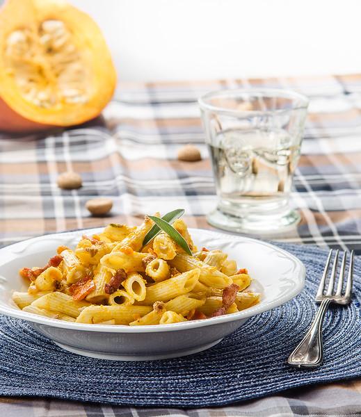 Penne with pumpkin-sage sauce, crispy bacon and amarettini crumbs