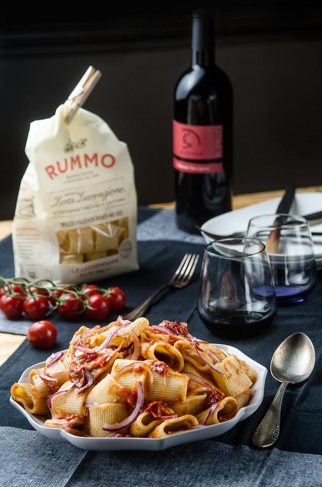 Paccheri with Pomodorini and marinated Red Onion
