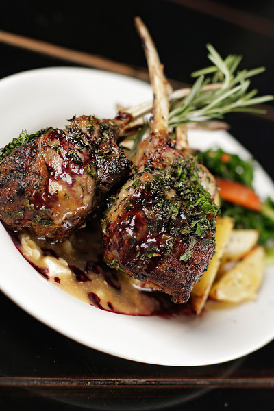 A Lamb Chop with Feta Ju and Vegetables dish is photographed at Madeleine's Cafe & Patisserie, in Spokane, Wash., on Wednesday, April 13, 2011. (Young Kwak Special to the Pacific Northwest Inlander)