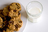 Peanut Butter Chocolate chunk cookies and milk