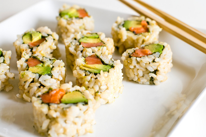 Brown Rice, Salmon/Avocado Sushi.