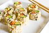 Brown Rice, Salmon/Avocado Sushi.