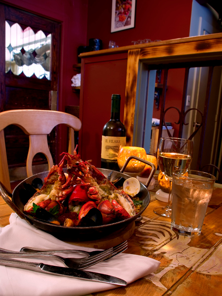 Lobster Paella, made by chef Abby Harmon, Caiola's Restaurant, West End, Portland.