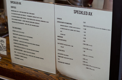 Speckled Axe's delightful menu.