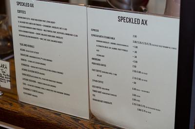Speckled Axe's delightful menu.