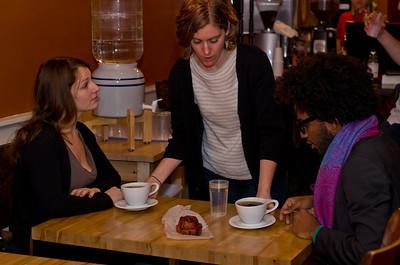 Bethany Moran, serving coffee.