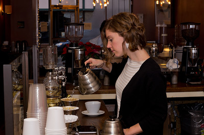 Bethany Moran pouring coffee.