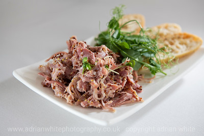 Llwyn County House Hotel Restaurant Review  Shredded Ham Hock  PLS. BYLINE adrianwhitephotography.co.uk  Copyright © 2018 by Adrian White  Photography, all rights reserved. For permission to publish - contact me via www.adrianwhitephotography.co.uk Please respect copyright laws.