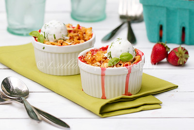 Salty Sweet Strawberry Crisp with Lazy Basil Ice Cream