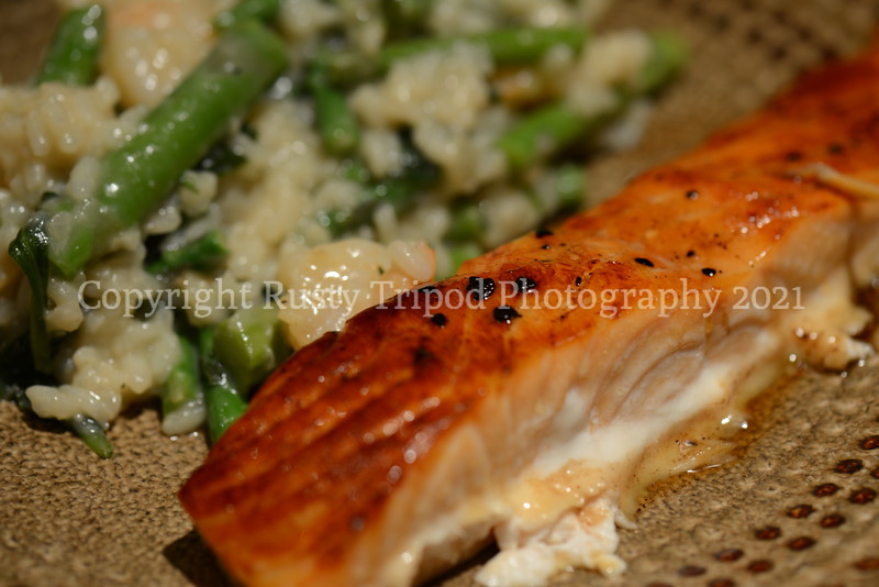 Honey Glazed Salmon with Shrimp Risotto