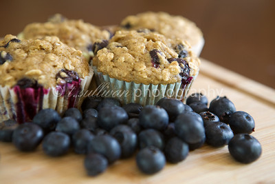 Homemade whole grain low-fat blueberry muffins