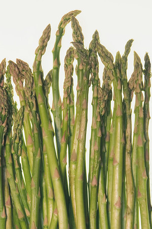 Stock photo of asparagus spears on white background.