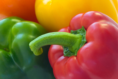 Arrangement of assorted colorful sweet peppers.