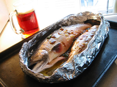 bbq trout with fish sauce,garlic and red ale