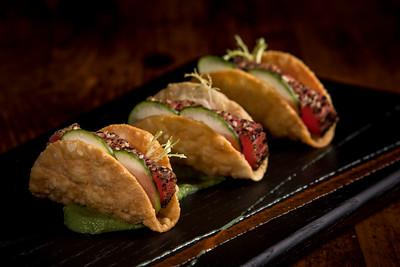 Nori Seared Ahi Sashimi Wonton Tacos
