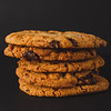 Cookies stacked with a black background