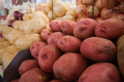 Stock photo of Potatoes on display