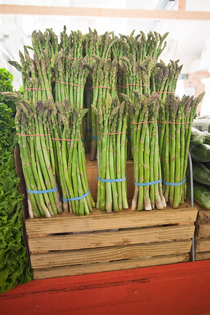 Stock Photo of Bunches of Asparagus on Display at Market