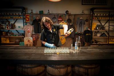 Taylor pouring a dram at Stranahan's