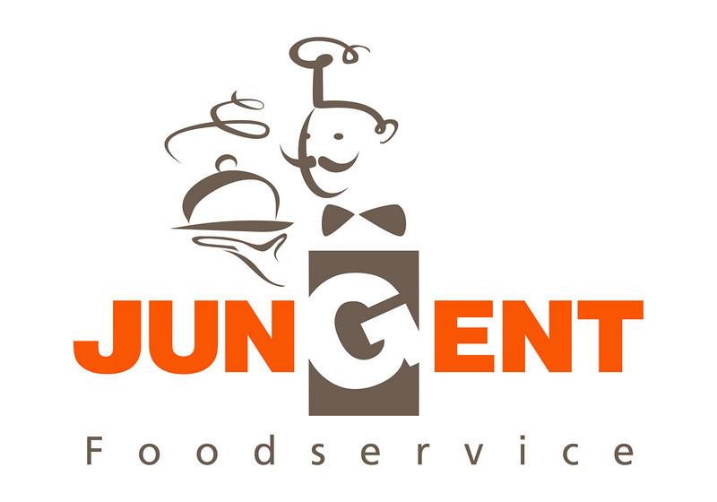 Jungent Foodservice logo usage Adobe Illustrator file<br /> Orange - Pantone 1655; Pantone warm grey 11; <br /> CMYK 0;74;98;0<br /> RGB Orange R249;G86;b2<br /> RGB Grey R109;G94;B81<br /> <br /> Grayscale black 40%; Black 100%