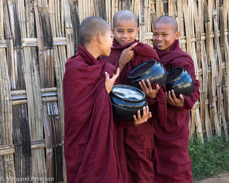 Novice Monks collecting daily food
