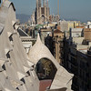 View from Casa Mila of La Sagrada Familia