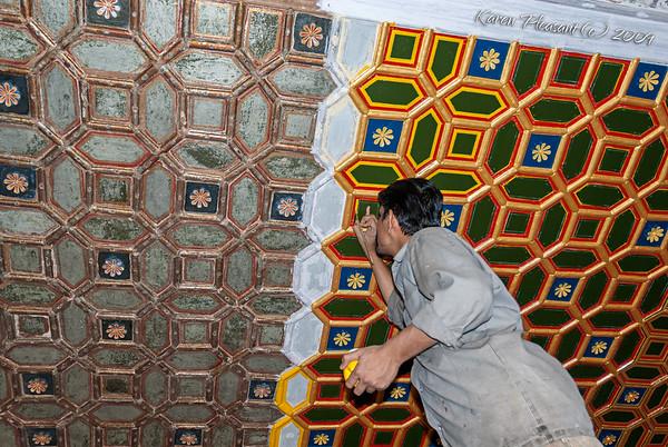 Junagarh Fort - restoring the ceiling