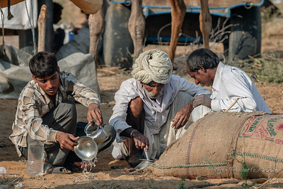 Pushkar Camel Fair - fixing dinner