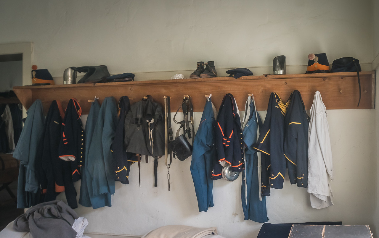 Uniforms on display at Fort Tejon