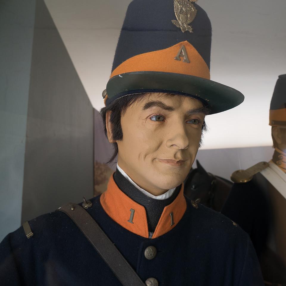 Uniforms display at Fort Tejon