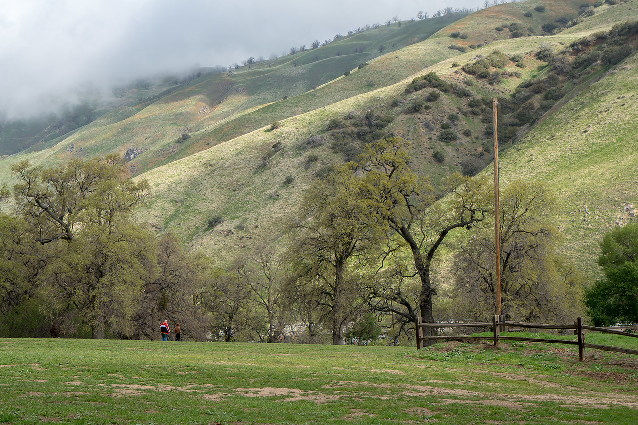 Visitors near the Parade Ground at Fort Tejon